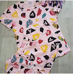 Костюм женский футболка и шорты буквы 42-44 (лето)