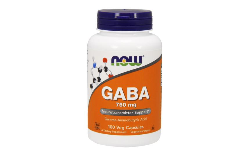 Витамины и минералы NOW GABA 750mg. - 100 Veg Capsules