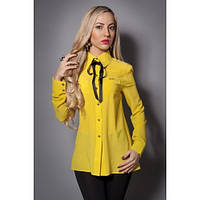 Шифоновая женская блузка с бантиком желтая