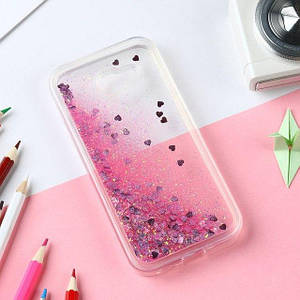 Чехол Glitter для Samsung Galaxy A7 2016 / A710 Бампер Жидкий блеск сердце розовый