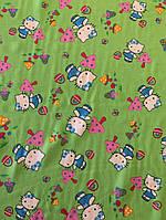 """Ткань зелёный штапель """"Hello Kitty"""", фото 1"""