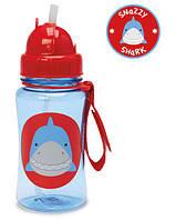 Лёгкая бутылка, поильник с трубочкой Skip Hop Zoo Straw Bottle, Shark! США.