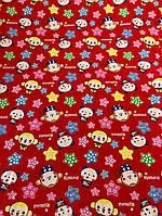 Ткань красный штапель с милыми зверушками, фото 1