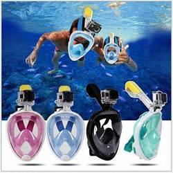Подводная маска EASYBREATH  (синяя, черная, розовая) размеры L/XL, S/M