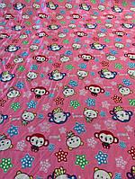 Ткань розовый штапель с милыми зверушками, фото 1