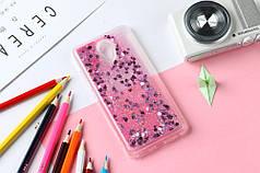 Чехол Бампер Glitter Жидкий блеск для Meizu MX6 с блестками розовый Сердце