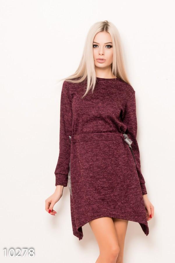 Бордовое ангоровое меланжевое асимметричное платье с кулиской