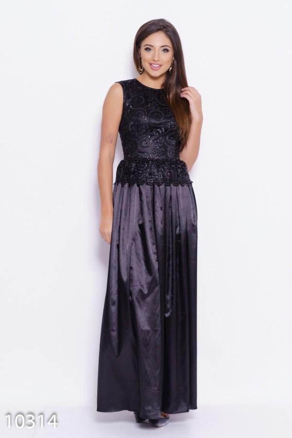 Черное вечернее платье в пол с баской и декором из блесток