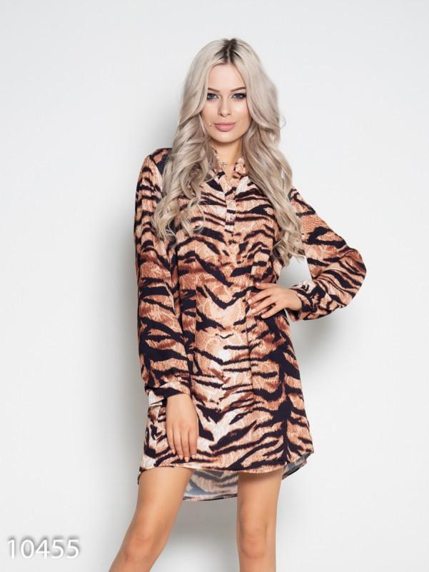 Платье с длинными рукавами и животным принтом