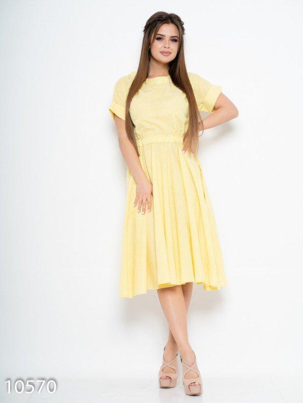 40c495a1639 Желтое клетчатое платье с расклешенной юбкой купить в Украине