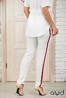 Женские летние брюки с с лампасом в полоску