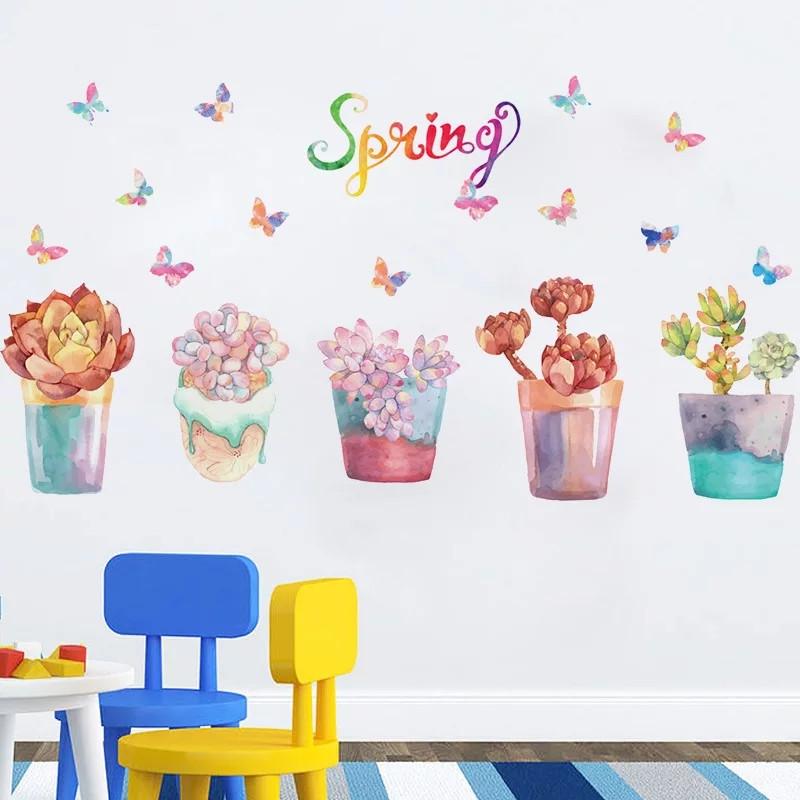 """Наклейка на стену, наклейки на окна, наклейки на шкаф """"5 цветов в горшках Spring"""" 118*65см (лист 50*70см)"""