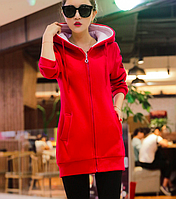 baa0766119c Женская спортивная кофта с капюшоном и вышивкой Красный 44 46
