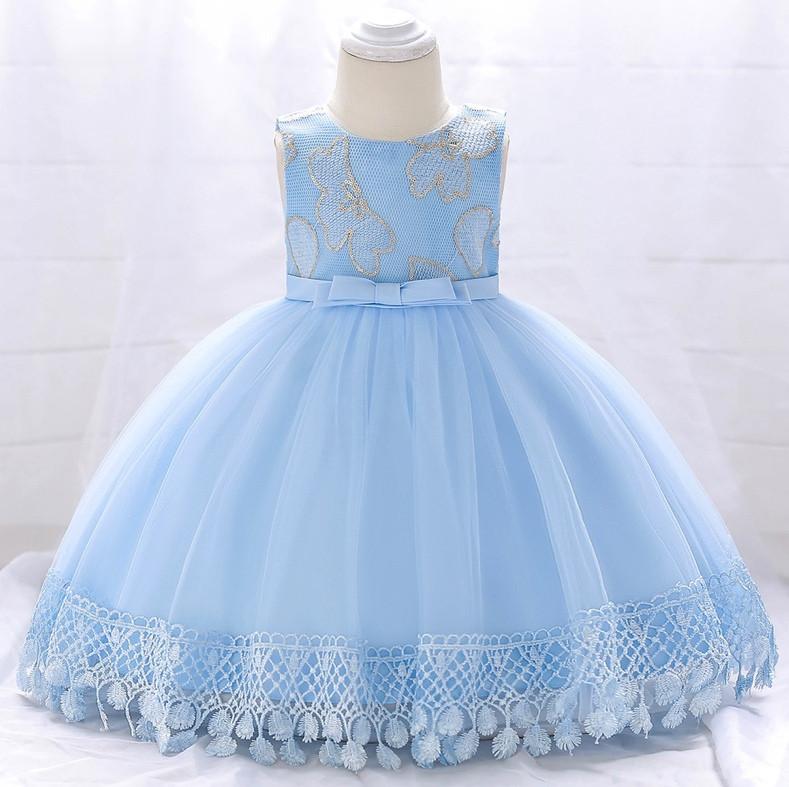 Нарядное детское платье на девочку голубое с цветочками  9 мес -2 года