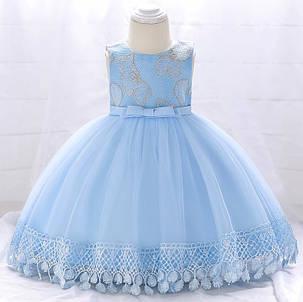 Нарядное детское платье на девочку голубое с цветочками  9 мес -2 года, фото 2