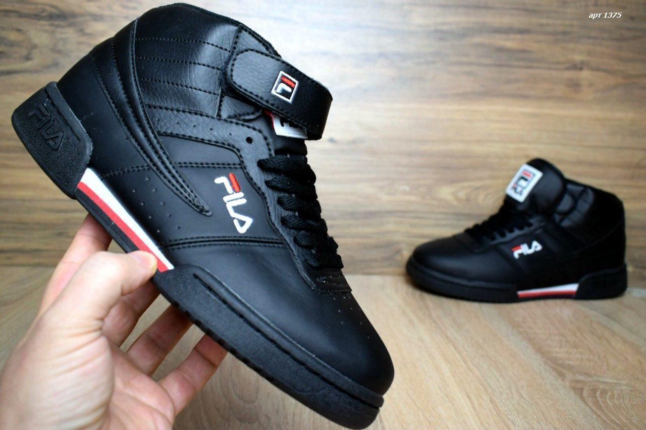 25ec4d74 Мужские кроссовки в стиле Fila Original Fitnes Premium черные высокие кожа  - Lux Shoes в Киеве