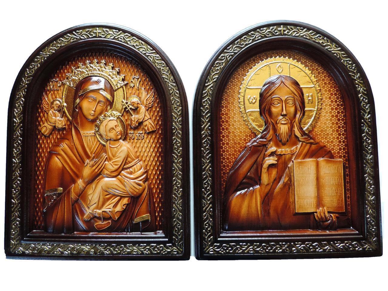 Вінчальна пара ікони Спасителя і Пресвятої Богородиці