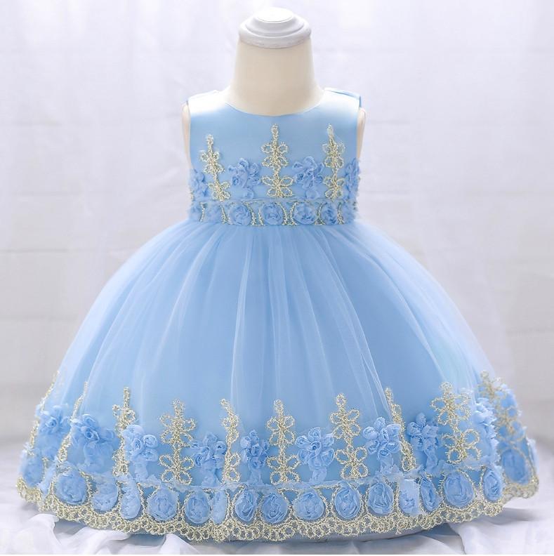 Нарядное детское платье на девочку голубое с золотым кружевом 9 мес