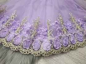 Нарядное детское платье на девочку фиолетовое с золотым кружевом 9 мес -2 года, фото 3