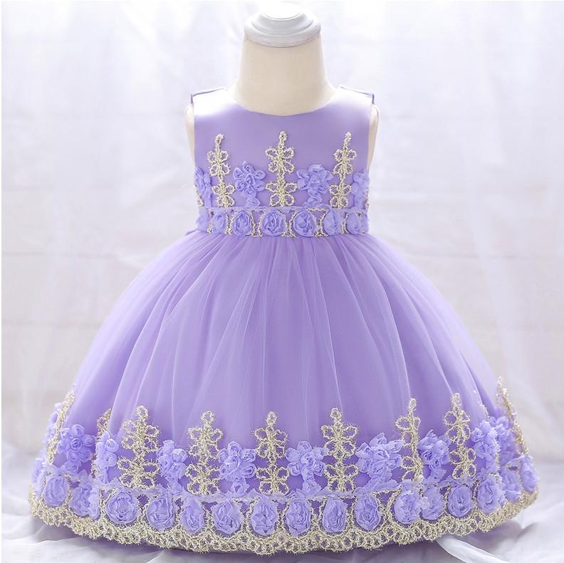 Нарядное детское платье на девочку фиолетовое с золотым кружевом 9 мес -2 года
