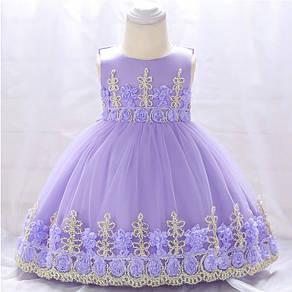 Нарядное детское платье на девочку фиолетовое с золотым кружевом 9 мес -2 года, фото 2