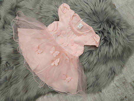 Ошатне дитяче плаття на дівчинку рожеве з метеликами 9 міс, фото 2