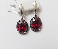 Серьги из серебра Империя с красным камнем, фото 1