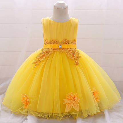 Нарядное детское платье на девочку желтое Королева 9 мес -2 года, фото 2