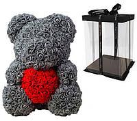 Мишка из 3D роз Серый 40см с сердцем Gray iTrendy + подарочная упаковка