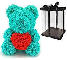 Мишка из 3D роз Бирюзовый 40см с сердцем iTrendy + подарочная упаковка