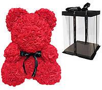 Мишка из 3D роз Красный 40см с бантом Red iTrendy + подарочная упаковка