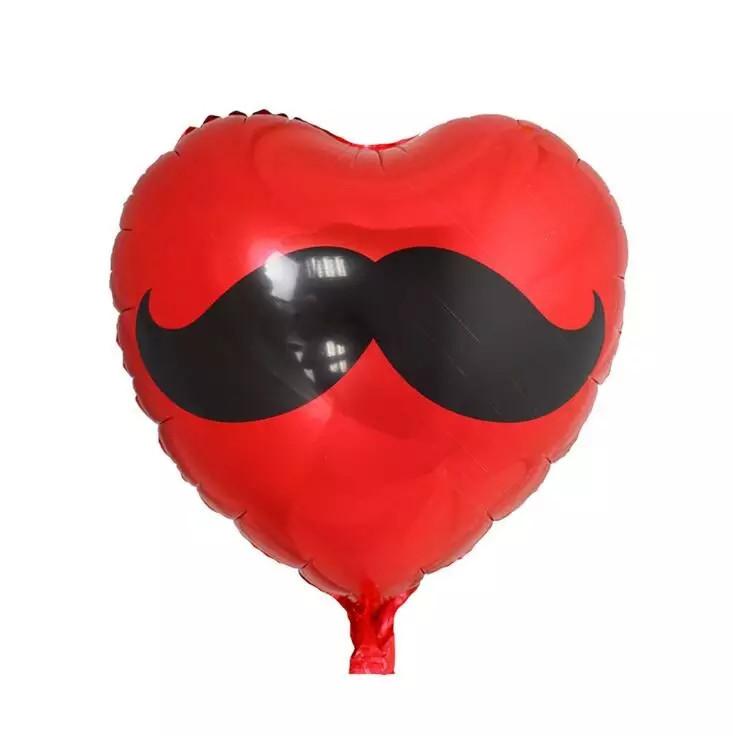 Шарик фольгированный сердце с усами