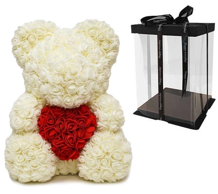 Мишка из 3D роз Молочный 40см с сердцем iTrendy + подарочная упаковка