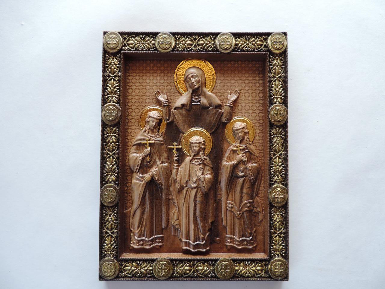 """Дерев'яна ікона """"Віра, Надія, Любов і їх мати Софія"""" 495х345 мм"""