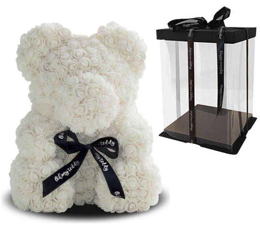 Мишка из 3D роз Белый 40см с бантом White iTrendy + подарочная упаковка