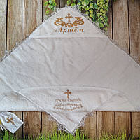 Крыжма  именная крестильная  с вышивкой и кружевом  , фото 1