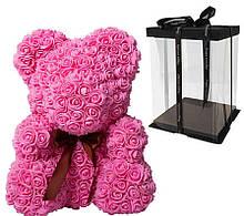 Мишка из 3D роз Розовый 40см с бантом Pink iTrendy + подарочная упаковка
