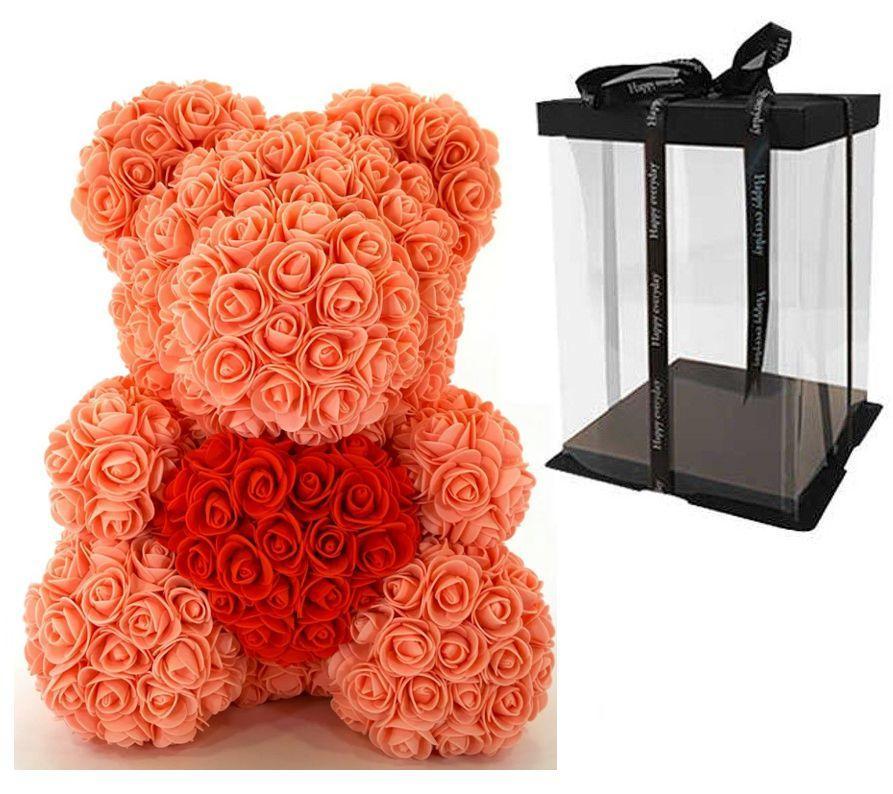 Мишка из 3D роз Оранжевый 40см с сердцем Violet iTrendy + подарочная упаковка