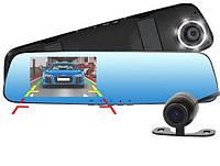 Видеорегистратор-зеркало автомобильный DVR Full HD 1433 4,3 дюйма; на 2 камеры авторегистратор