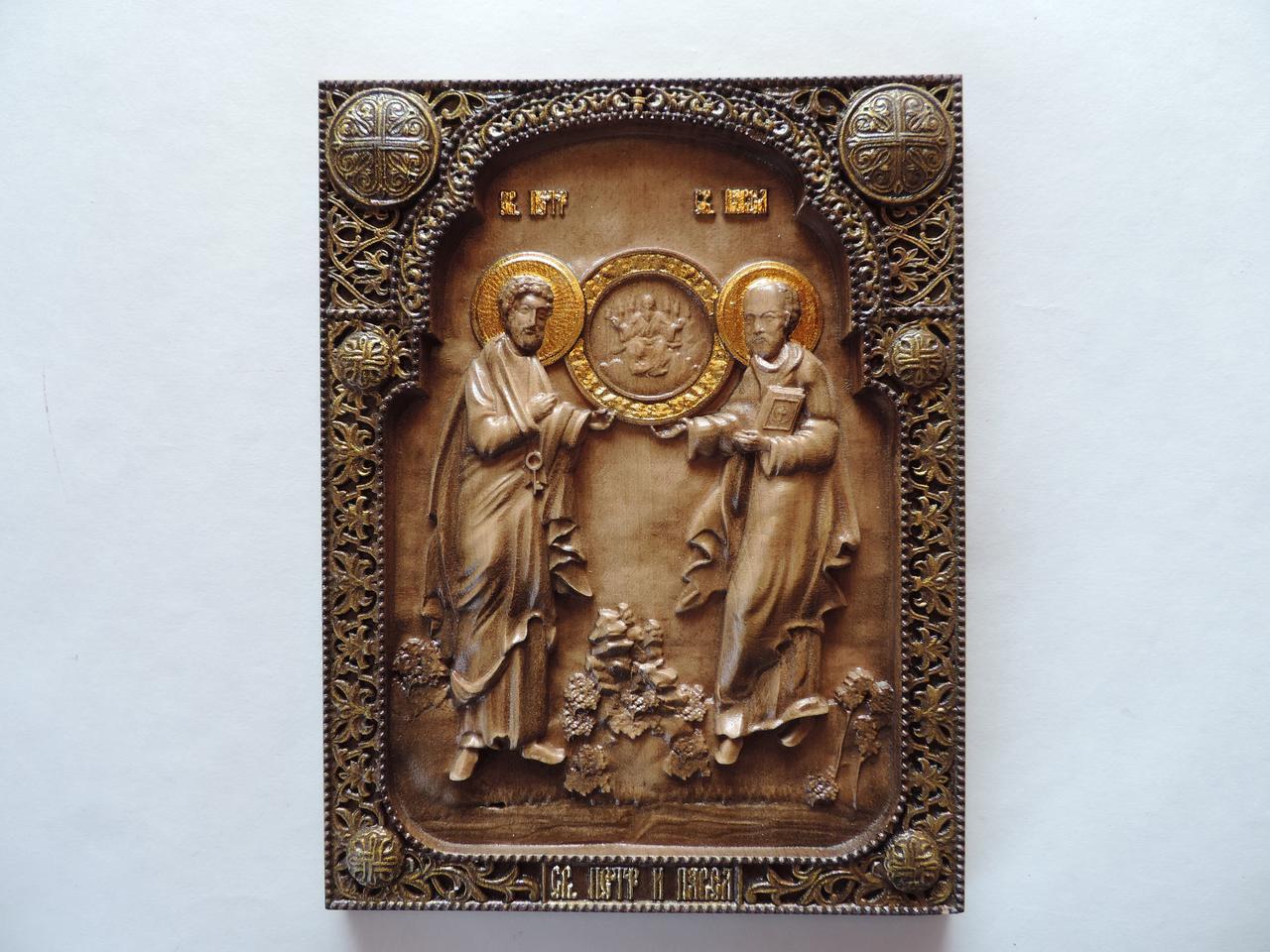"""Дерев'яна ікона """"Апостоли Петро і Павло"""" 320х250мм"""