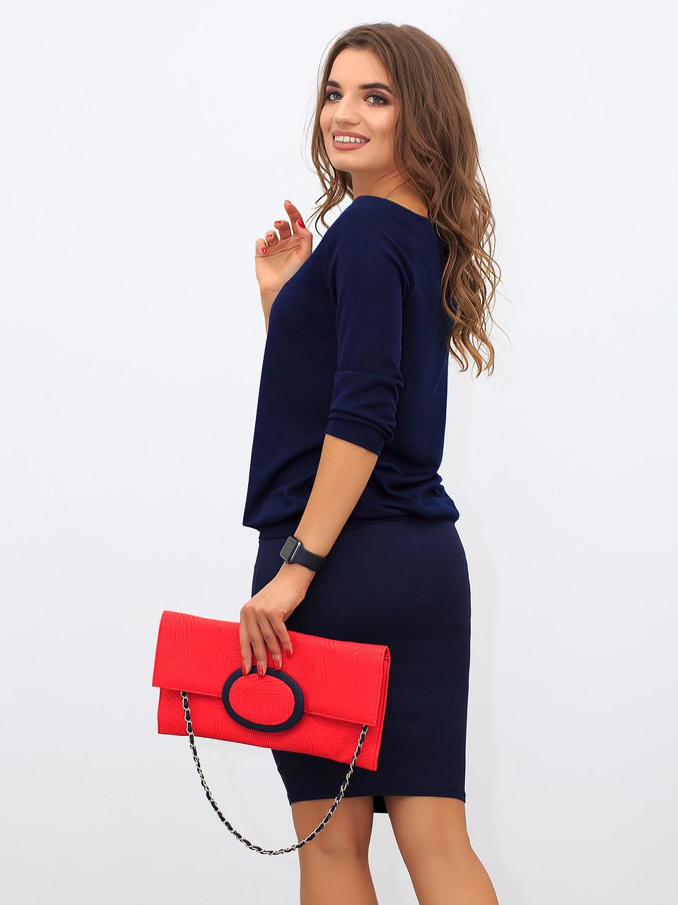 Женская синяя блузка, ткань мелкий рубчик