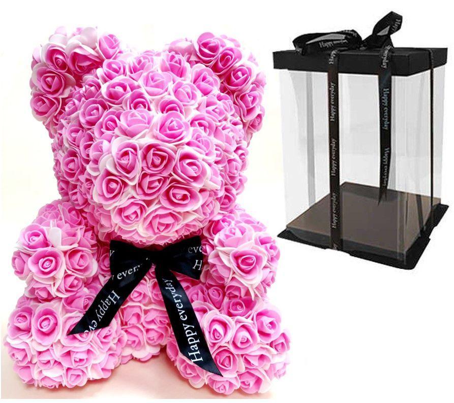 Мишка из 3D роз Бело-розовый 40см с бантом  iTrendy + подарочная упаковка