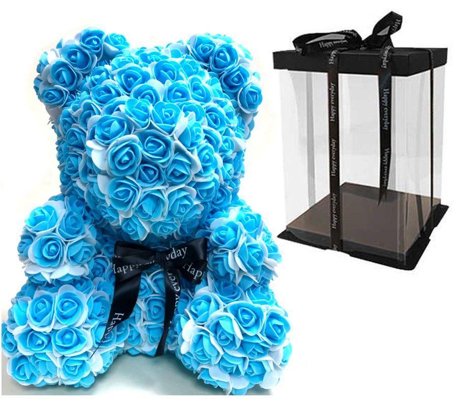 Мишка из 3D роз Бело-голубой 40см с бантом  iTrendy + подарочная упаковка