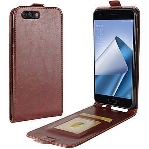 Чехол IETP для Asus ZenFone 4 / ZE554KL / z01kd Флип вертикальный кожа PU коричневый