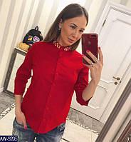 1891e015746ba49 Женская стильная рубашка декорирована жемчугом размер 42 44 Новинка 2019