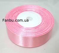 Лента атласная нежно розовая однотонная (ширина 2.5см)1 рул-22м, фото 1