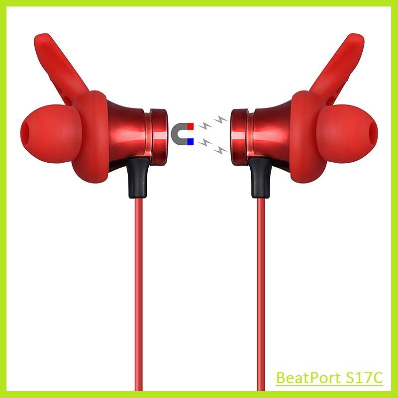 Беспроводные Bluetooth (Блютуз) Наушники с Магнитом и Разъемом для SD-карты BeatPort S17C