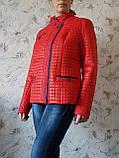 Червона стьобана куртка весна-осінь. Розміри 50-60, фото 4
