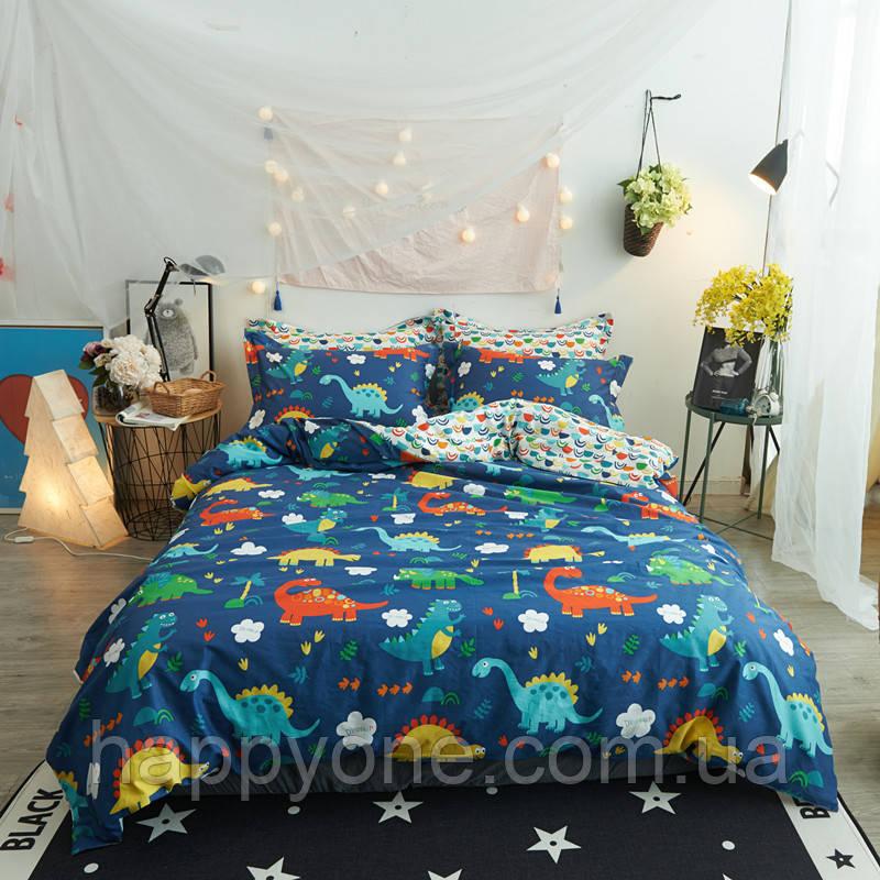 """Комплект постельного белья """"Веселые динозавры"""" с простынью на резинке (полуторный)"""