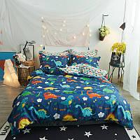 """Комплект постельного белья """"Веселые динозавры"""" с простынью на резинке (полуторный), фото 1"""